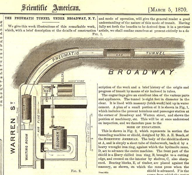 Schon 1870 schaffte es die pneumatische Vakuumbahn von Alfred Ely Beach in die Presse: Sein Beach Pneumatic Transit war der erste (gescheiterte) Versuch, in New York eine U-Bahn zu bauen. Bildquelle: https://en.wikipedia.org/wiki/Alfred_Ely_Beach